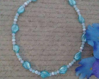Blue glass twist bead necklace, elegant necklace for women, special occasion jewelry, bridal jewelry, bridesmaids gifts, glass bead jewelry