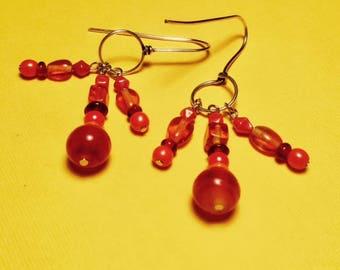 Orange and Red Dangle Earrings