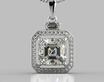 Princess Cut Halo Pendant Necklace