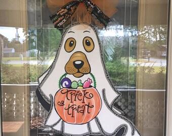 Halloween door hanger, Halloween dog door hanger, Halloween ghost door hanger, Happy Halloween door decor