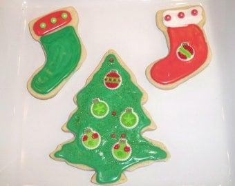 12 Christmas Tree & Stockings Sugar Cookies by Simply Divine