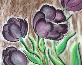 Tulips, pastel chalk