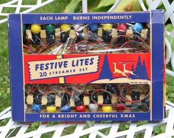 antique vintage festive lites set christmas lights in original box working - Antique Christmas Lights