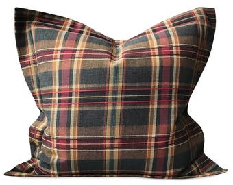 "22"" x 22"" Rich Plaid Decorative Pillow Cover - Eastern Accents Plaid Pillow Cover"