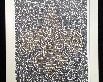 Saints 4.0 - Original Artwork, Fleur De Lis, Gold and Dark Gray