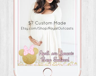 Not Iphone10 or Galaxy 8 Compatible - Minnie Mouse Snapchat Geofilter (3 Options)- Custom made- Baby Shower/ First Birthday etc.