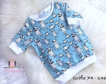 Baby T shirt turquoise & white - girl of young TShirt animals - Jersey Monster sweater hand made children's clothing - tailor made child tea