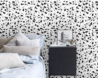 Removable wallpaper/Wallpaper/Peel and Stick/Self adhesive wallpaper/Black and white /Creative patern S134