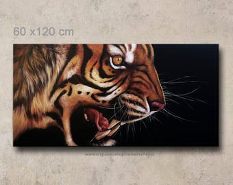 60 x 120 cm, tiger oil painting on canvas  wall decor