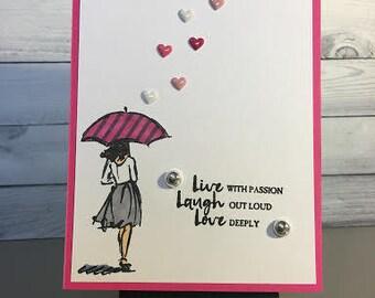 Stripes and Hearts Umbrella
