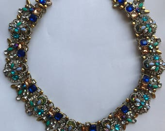 Silver Gem Statement Bib Necklace