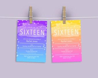 Super Sweet Sixteen 16 Birthday Invitation Party Invitation Pink Purple Yellow Blue Printable Digital File