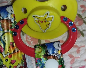 Pikachu ABDL Pacifier and Pokemon Paci Leash