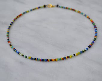 Multicolored Beaded Choker Necklace