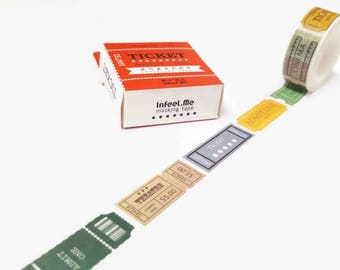 Ticket Washi Tape, Decorative Tape,  Scrapbooking Tape, Japanese Masking Tape, Retro Ticket Tape, Bullet Journals, Planners, Paper Tape