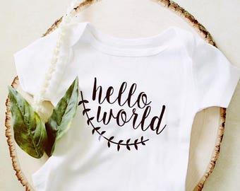 Hello World. Welcome Baby Bodysuit