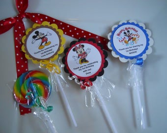 """12 Disney Mickey Mouse Minnie Mouse 1st 2nd 3rd 4th Birthday Baby Shower Favors Jumbo 3"""" Hard Candy Swirl Lollipop Gourmet Party Favor"""
