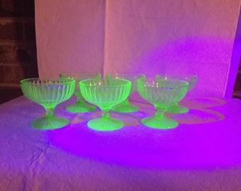Uranium vaseline glass desert dishes