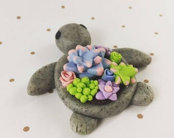 Polymer Clay Turtle Succulent Planter