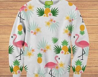 TeenMango Colorful Flamingos Sweater (fullprint, colorfull) free worldwide shipping