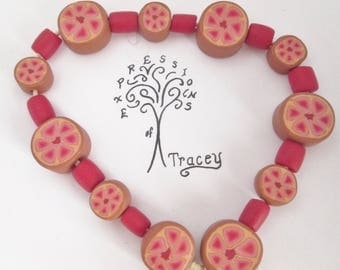 Red flower beads, handmade beads, polymer clay beads
