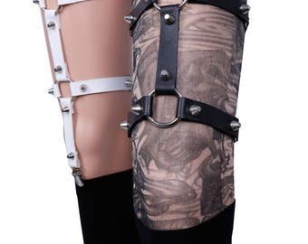 pastel goth garter belt leather harness  studded leg garter