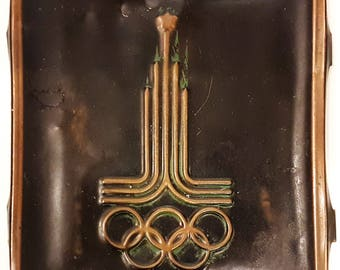 Vintage USSR Brass Plate Olympic Games Moscow 1980
