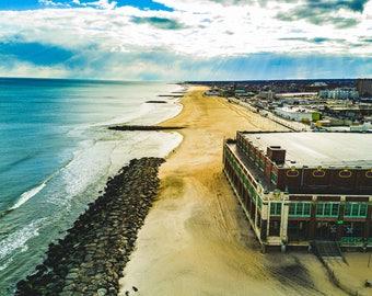 New Jersey Aerial views, Asbury Park beach, boardwalk, convention hall.