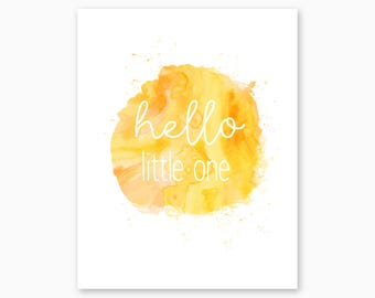 HELLO LITTLE ONE, Nursery Printable, Yellow Nursery, Nursery Quote, Watercolor Nursery Wall Art, Girl Nursery Decor, Instant Download