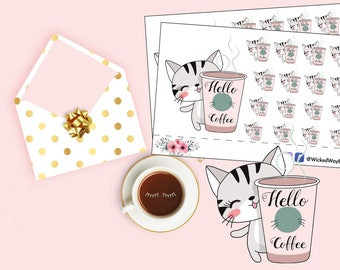 Coffee Sticker, Coffee cup Planner Stickers, But First Coffee, Kawaii Cat