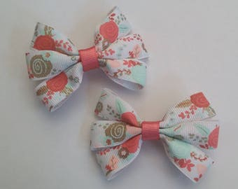 Floral Hair Bow Clip Set, Coral flowers, Hair accessories, Baby accessories, Baby Girl, White Hairbow, Flowers, Coral, Mint, Gold