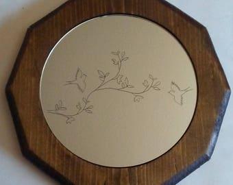 Engraved Bird Decorative Mirror