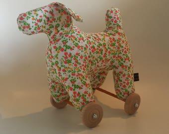 Art Toy Sculpture textile Dog House on wheels