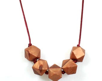 Geo Beads Silicone Teething Necklace Copper Rose