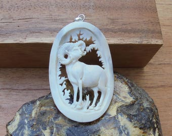 Goat Bone Pendant, Goat Carving, Hand Carved Bali Bone Carving Jewelry P92