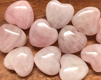 Rose Quartz Heart Crystal 30mm | Puffy Heart | Love Crystal | Fertility Crystal | Worry Stone | Palm Stone #H1