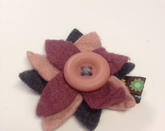 Black, maroon, and pink flower bow clip