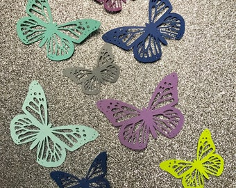 50 paper cut out butterflies- select color and size