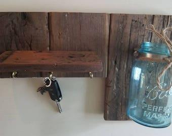 Rustic Mason Jar Shelf with Key Hooks