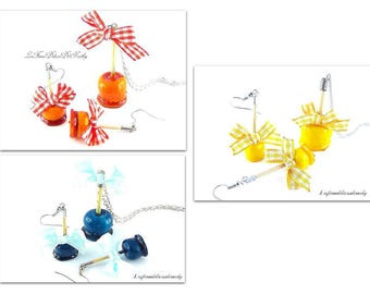 Fineries necklace and earrings toffee apples orange/yellow or blue in the choice