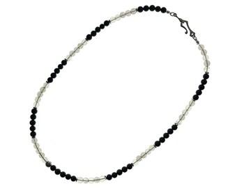 Black Tourmaline and Smoky Quartz Men's Necklace