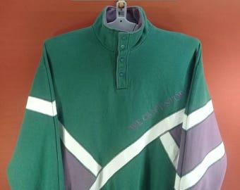 Vintage Descente Sweatshirt Embroide NCAA Sweatshirt Colour Block Size L Made in Japan Ellesse Sweatshirt Nike Adidas Sweatshirts