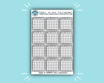 Small Blank Calendars | Calendar Planner Sticker | Bullet Journal Stickers | Stickers for Planners & Journals | Journaling Supplies