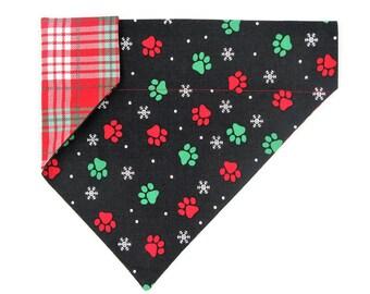Christmas Dog Bandana –Christmas Paw Prints and Plaid– Reversible –Slides on Collar