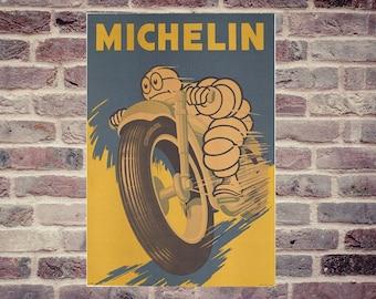 Bibendum Michelin. Michelin man. Motorbike Michelin tyre advertising.