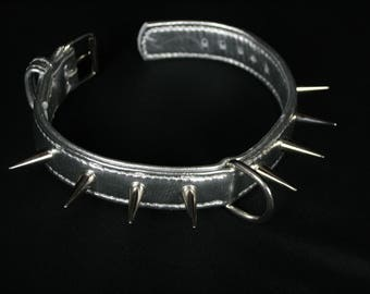 Dog collar in soft silver Big studs! large pointed nails nickeled