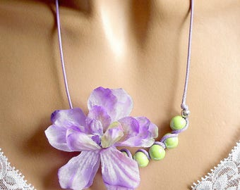 Purple and green flower fabric jewelry necklace