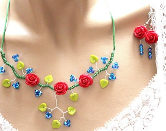 Romantic set red blue and green