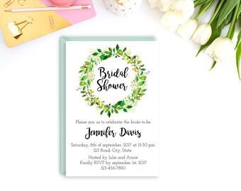 Printable bridal shower invitation, Greenery bridal shower invitation, bridal shower invite