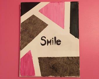 "Geometric ""Smile"" Canvas Wall Art"